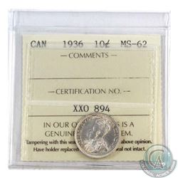 10-cent 1936 ICCS Certified MS-62