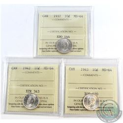 10-cent 1937 1942 & 1943 ICCS Certified MS-64. 3pcs