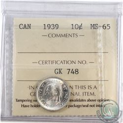 10-cent 1939 ICCS Certified MS-65