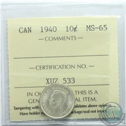10-cent 1940 ICCS Certified MS-65