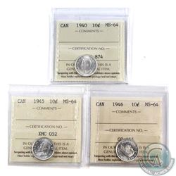 10-cent 1940, 1945, & 1946 ICCS Certified MS-64. 3pcs