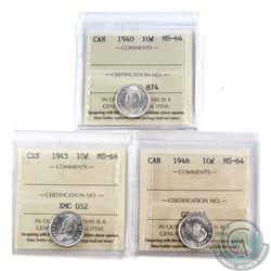 10-cent 1940, 1945, & 1946 ICCS Certified MS-64. 3pcs