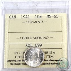 10-cent 1941 ICCS Certified MS-65. Soft satin finishes throughout.