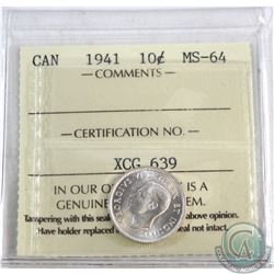 10-cent 1941 ICCS Certified MS-64. *Blast White*