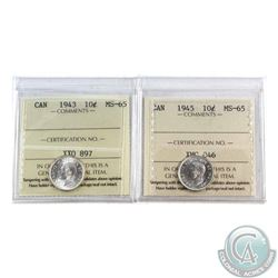 10-cent 1943 & 1945 ICCS Certified MS-65. 2pcs
