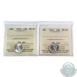 10-cent 1943 & 1945 ICCS Certified MS-65. 2pcs