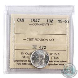 10-cent 1947 ICCS Certified MS-65. Almost full white coin with high mint lustre.