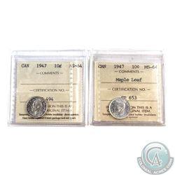 10-cent 1947 & 1947 Maple Leaf ICCS Certified MS-64. 2pcs