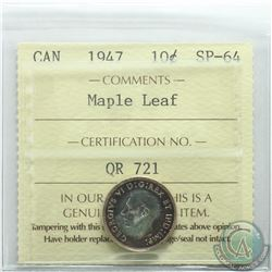 10-cent 1947 Maple Leaf ICCS Certified SP-64. Coin features attractive deep rose gold bullseye tonin