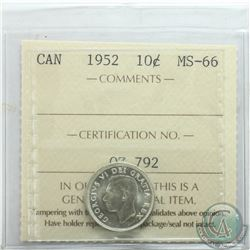 10-cent 1952 ICCS Certified MS-66. Tied for finest known.
