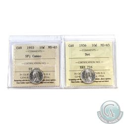 10-cent 1953 SF Cameo & 1956 Dot ICCS Certified MS-65. 2pcs