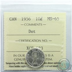 10-cent 1956 Dot ICCS Certified MS-65. Bright coin with lots of shine.