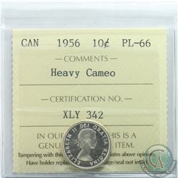 10-cent 1956 ICCS Certified PL-66 Heavy Cameo