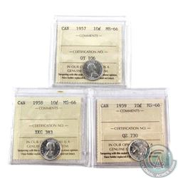 10-cent 1957, 1958, & 1959 ICCS Certified MS-66. 3pcs