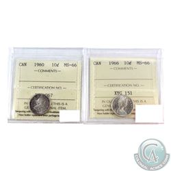 10-cent 1960 & 1966 Both ICCS Certified MS-66. 2pcs