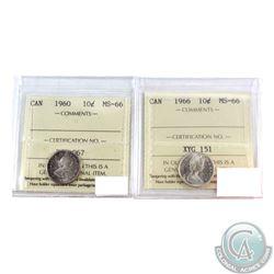 10-cent 1960 & 1966 Both ICCS Certified MS-66. 2pcs
