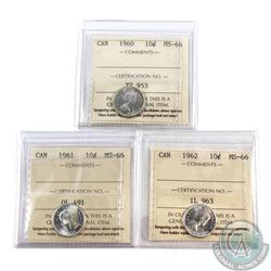 10-cent 1960, 1961 & 1962 ICCS Certified MS-66. 3pcs