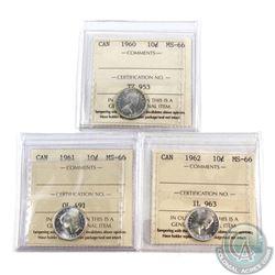 10-cent 1960, 1961 & 1962 ICCS Certified MS-66. 3pcs