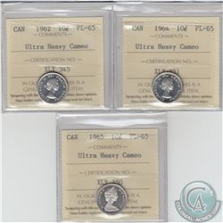 10-cent 1962, 1964 & 1965 ICCS Certified PL-65 Ultra Heavy Cameo. 3pcs