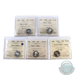 10-cent 1963, 1965, 1966, 1967 & 1968 Nickel ICCS Certified PL-66 Heavy Cameo. 5pcs