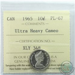 10-cent 1965 ICCS Certified PL-67 Ultra Heavy Cameo. Solo finest known