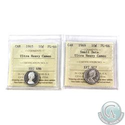 10-cent 1965 & 1969 Small Date ICCS Certified PL-66 Ultra Heavy Cameo. 2pcs