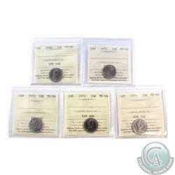 10-cent 1970, 1971, 1972, 1973 & 1974 ICCS Certified MS-66. 5pcs