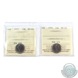 10-cent 1972 & 1974 ICCS Certified MS-66. 2pcs