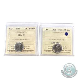 10-cent 1980 Wide 0 & 1983 ICCS Certified MS-66. 2pcs