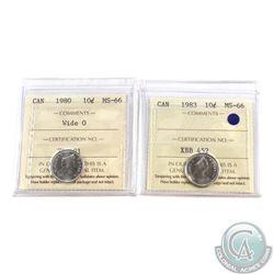 10-cent 1980 Wide 0 & 1983 ICCS Certified MS-66. 2pcs