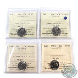 10-cent 1985, 1986, 1987 & 1988 ICCS Certified MS-65. 4pcs
