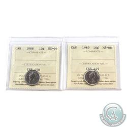 10-cent 1988 & 1989 ICCS Certified MS-66. 2pcs