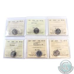 10-cent 2005P, 2006 RCM Logo, 2006P, 2007 Straight 7, 2007 Curved 7 Numismatic BU & 2008 ICCS Certif