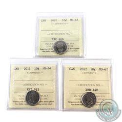 10-cent 2010, 2011 & 2012 ICCS Certified MS-67. 3pcs