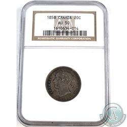 20-cent 1858 NGC Certified AU-50.