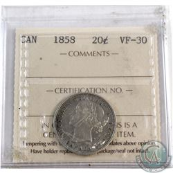 20-cent 1858 ICCS Certified VF-30.