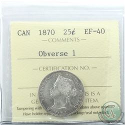 25-cent 1870 Obverse 1 ICCS Certified EF-40. Nice bright, problem free coin.