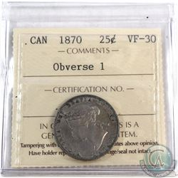 25-cent 1870 Obverse 1 ICCS Certified VF-30.