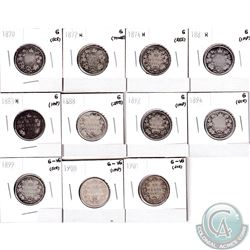 25-cent 1870-1901 in Good or G-VG. Included are 1870, 1872H, 1874H, 1881H, 1883H, 1888, 1892, 1894,