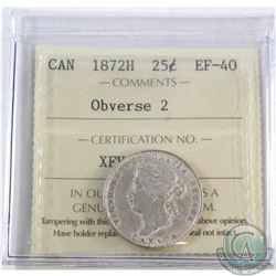 25-cent 1872H Obverse 2 ICCS Certified EF-40