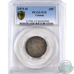 25-cent 1875H PCGS Certified F-15. ** KEY DATE **