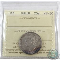 25-cent 1881H ICCS Certified VF-30.