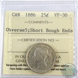 25-cent 1886 Short Bough Ends, Obv.5 ICCS Certified VF-30.