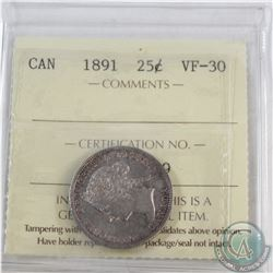 25-cent 1891 ICCS Certified VF-30. Coin exhibits strong details for its grade with great eye appeal.