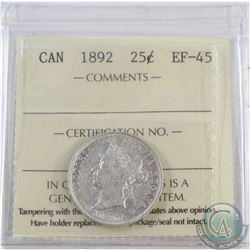25-cent 1892 ICCS Certified EF-45
