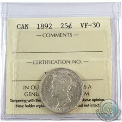 25-cent 1892 ICCS Certified VF-30
