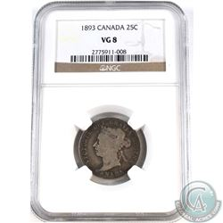 25-cent 1893 NGC Certified VG-8