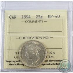 25-cent 1894 ICCS Certified EF-40