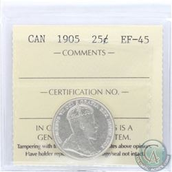 25-cent 1905 ICCS Certified EF-45. Attractive full white coin with lustre.