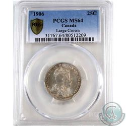 25-cent 1906 Large Crown PCGS Certified MS-64  *RARE LOW POP*